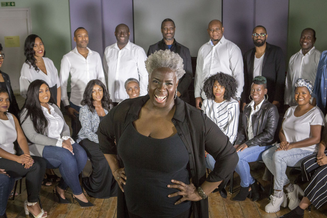 Karen Gibson and The Kingdom Choir. PRESS ASSOCIATION Photo. Picture date: Monday April 23, 2018. See PA story WEDDING Music. Photo credit should read: Rick Findler/PA Wire