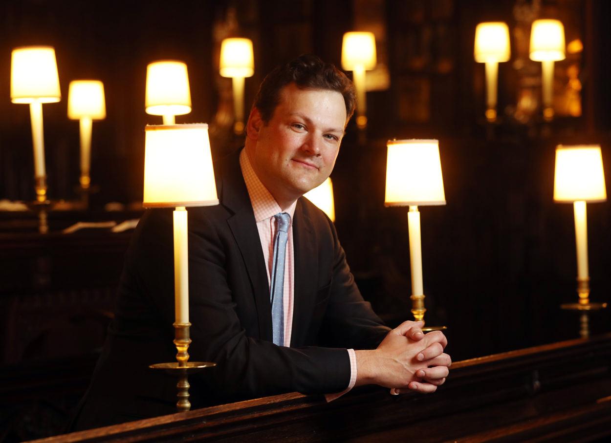 James Vivian, Organist and Director of Music, photographed in the Quire at St George's Chapel, Windsor. PRESS ASSOCIATION Photo. Picture date: Monday April 23, 2018. See PA story WEDDING Music. Photo credit should read: Jonathan Brady/PA Wire